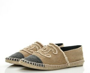 Chanel-Beige-Black-Cap-Toe-CC-Logo-Espadrille-Flats-Size-38EU-7-5US-830-00