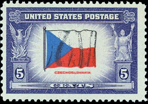 US Postage PHOTO MAGNET  Flag of CZECHOSLOVAKIA 1943-44 5 cents NOT A REAL STAMP