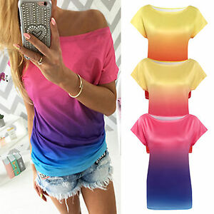 Womens-Summer-T-Shirt-Casual-Loose-Gradient-Tee-Shirts-One-Shoulder-Tops-Blouse
