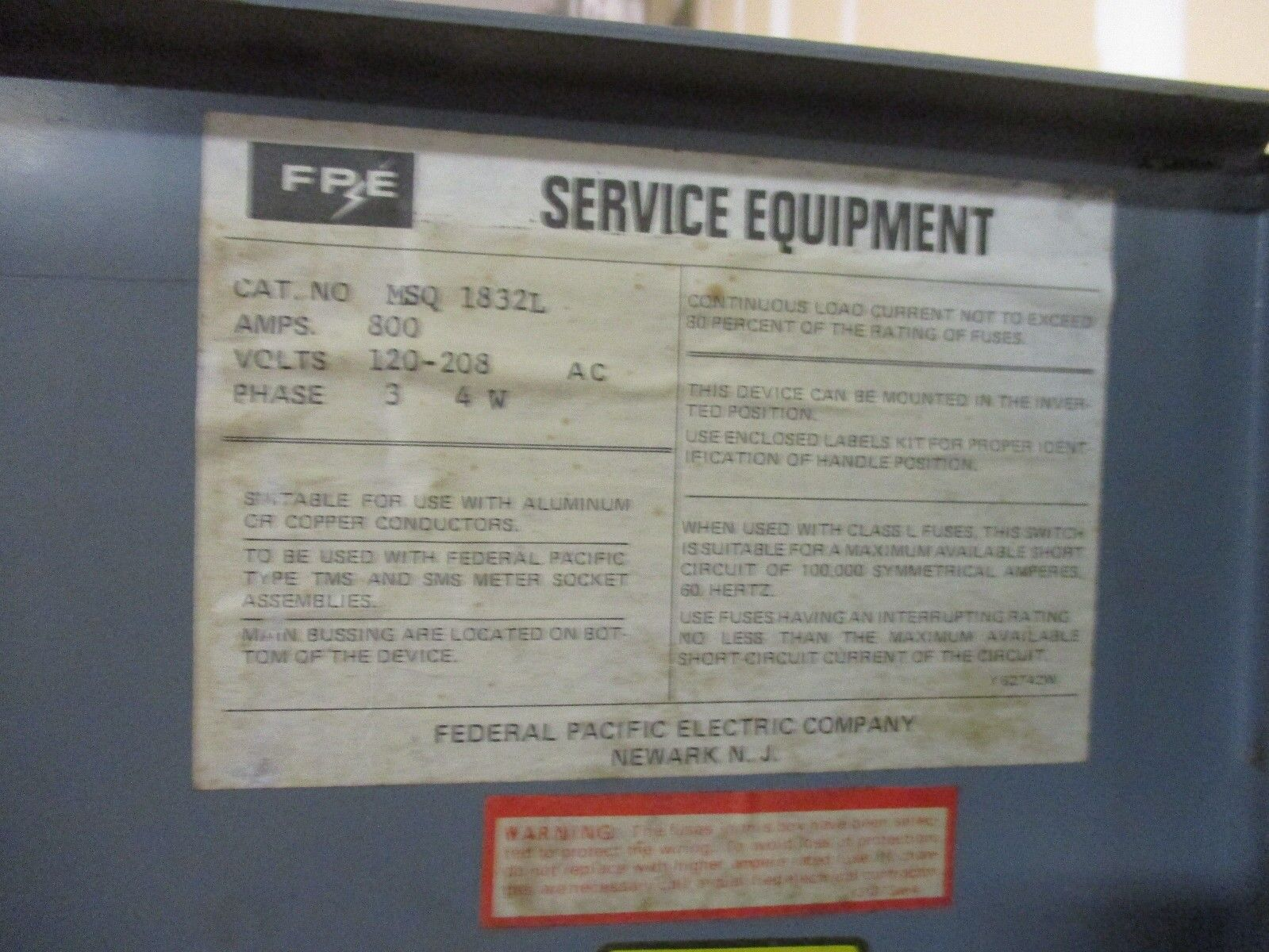 Fpe Msq1832l 800 Amp 120 208 Volt Meter Stack Disconnect Ebay Image Library Hom2200 Circuit Breaker Norton Secured Powered By Verisign