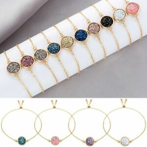 Fashion-Gold-Plated-Bracelet-Women-Druzy-Natural-Geode-Stone-Bangles-Jewelry