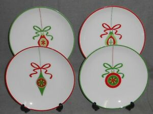 Set-4-Crate-amp-Barrel-CHRISTMAS-ORNAMENTS-Porcelain-SALAD-or-DESSERT-PLATES