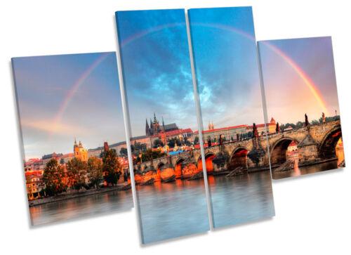 Prague Cityscape Rainbow CANVAS WALL ART MULTI Panel Picture Print