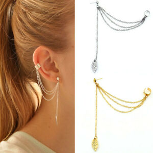 Orecchino-Catena-foglia-accessorio-bigiotteria-clip-orecchio-pendente-donna