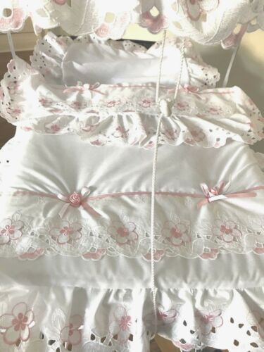 Baby Pram Canopy And Bedding Set In White// pink Broderie Anglaise