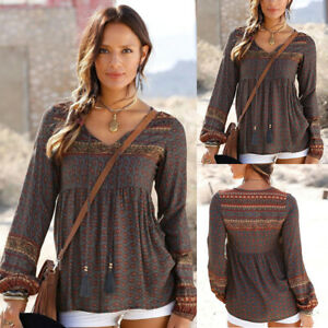 Women-Loose-V-Neck-Long-Sleeve-Boho-Floral-Blouse-Tops-Ladies-Autumn-Shirt-Top