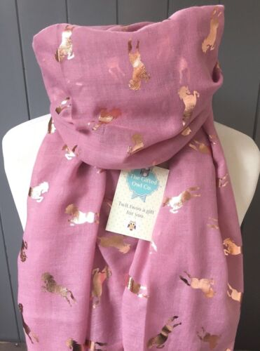 ALEXANDER PINK HORSE SCARF GOLD  PINK  FOIL WRAP SISTER  GIFT MOTHER CHRISTMAS