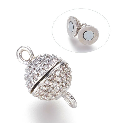 5 Sets Brass Pave Cubic Zirconia Magnetic Clasps Round Closure Findings 13.5x8mm
