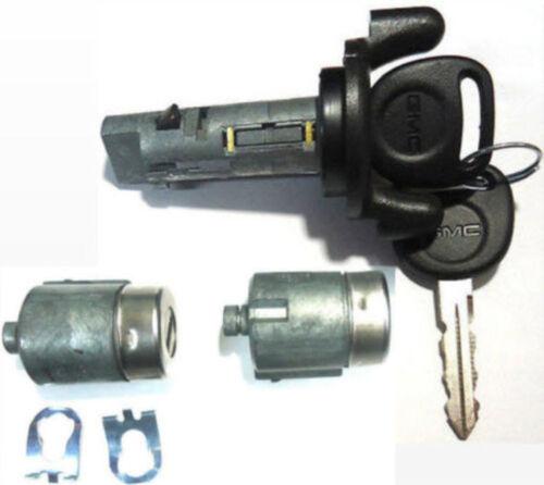 GMC Ignition Switch Lock Cylinder Pair Door Lock Cylinders W//2 GMC Logo Keys