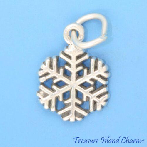 "SNOWFLAKE Winter Snow Christmas .925 Sterling Silver Charm Pendant 3//8/"" 10mm"
