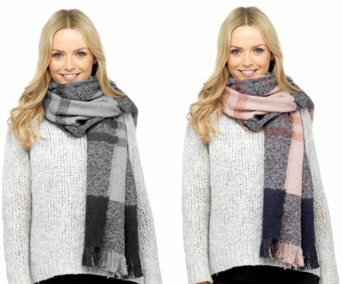 Ladies Luxury Large Pink Grey Checked Blanket Scarf 75x26 inch