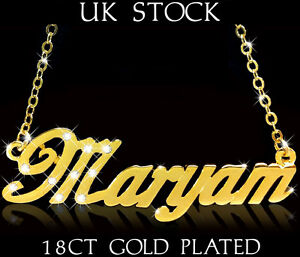 Details about MARYAM NAME NECKLACE 18ct Gold Plated Fashion Jewellery Gift  Designer Arabic Eid