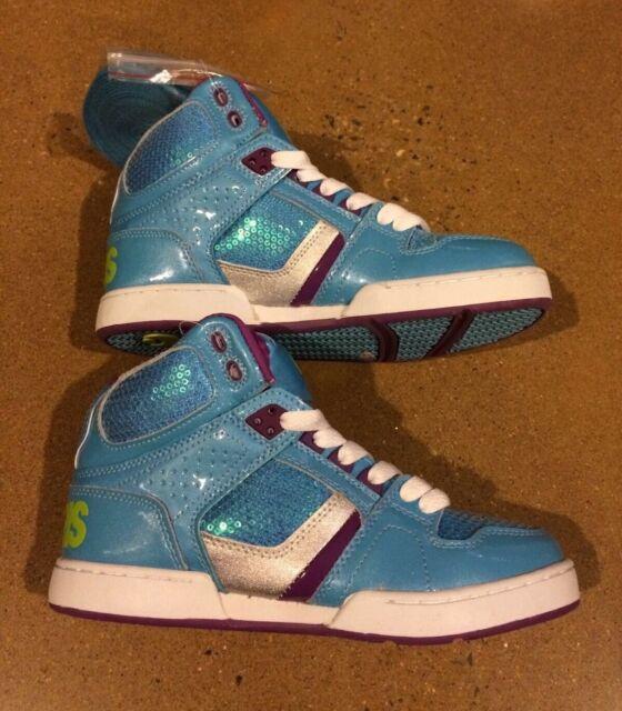 018b7bf645df00 Osiris Shoes Kids NYC 83 SLM Girls-Youth Size 5 US Blue Silver Lime Skate