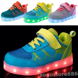 Details About 7 Color Children Kids Led Light Up Casual Dance Shoes Boy Girl Luminous Sneakers