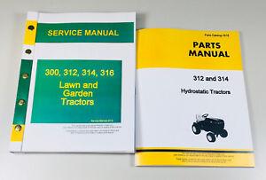 service parts manual set for john deere 312 314 lawn garden tractor rh ebay com John Deere 316 john deere 312 owners manual