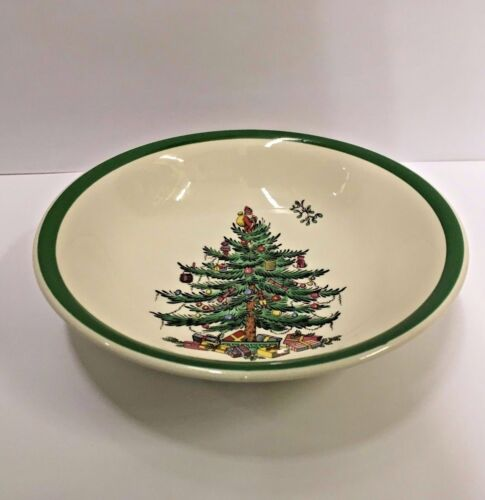 Spode CHRISTMAS TREE Coupe Cereal Bowl ENGLAND More Available Green Trim