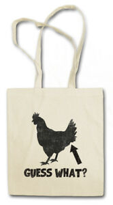 GUESS WHAT ? STOFFTASCHE Chicken Butt Quote Fun Nerd Hipster Indie Cocky