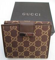 -authentique Portefeuille-porte-monnaie Gucci Toile Et Cuir Neuf Vintage