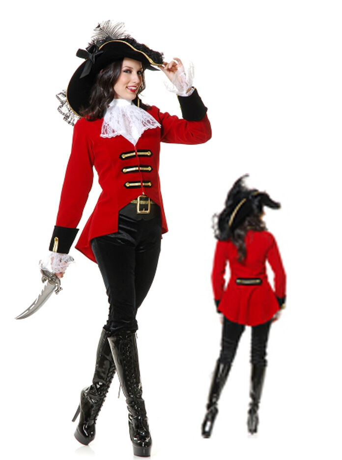 Pirates of the Caribbean - Woman Caribbean Pirates Swashbuckler Costume Red Black Halter Fancy Dress