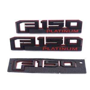 3x OEM F-150 PLATINUM Badge Emblem 3D logo Fender Rear Ford F150 S Genuine Black
