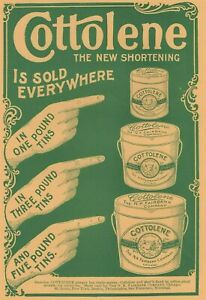 Cottolene Shortening 1896 Hands Pointing Tin Containers Yellow Paper Print Ad