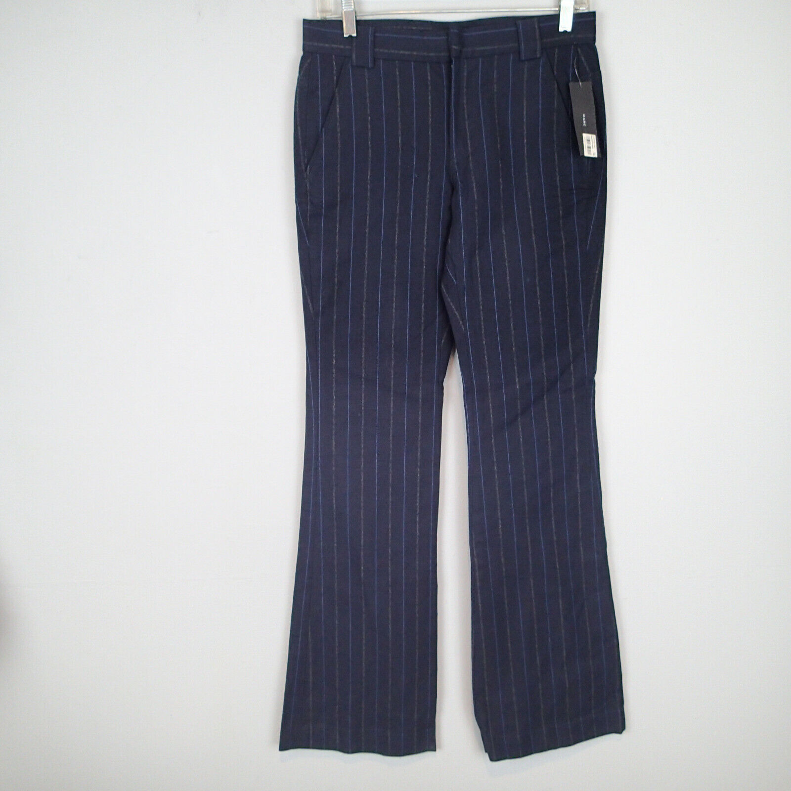 Marc Jacobs Womens Pants Sz 2 Navy bluee Striped Casual Trousers Cotton b1