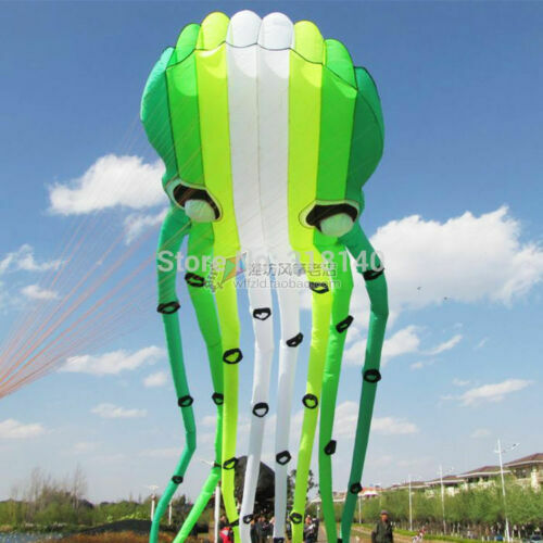 3D eyes 15m Grün 1 Line Stunt Parafoil Octopus POWER Sport Kite outdoor toy