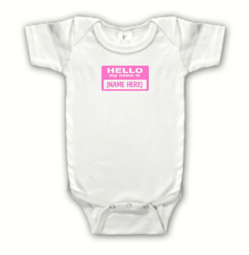 "Cute /""Hello My Name Is/"" Personalized One Piece Creeper Girl Infant Baby Clothing"