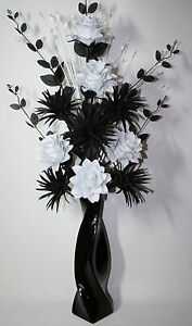 Artificial silk flower arrangement black white in large black vase image is loading artificial silk flower arrangement black amp white in mightylinksfo