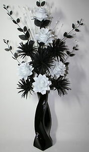 Artificial Silk Flower Arrangement Black White In Large Black Vase