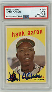 1959-BRAVES-Hank-Aaron-signed-card-Topps-380-PSA-DNA-AUTO-8-Autographed-PSA-5