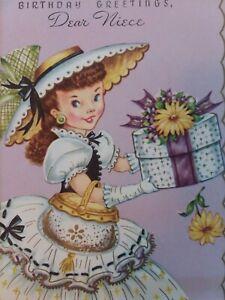 1950s-Vtg-LADY-Dress-Hat-Box-PURSE-Gloves-Embossed-NIECE-BIRTHDAY-GREETING-CARD