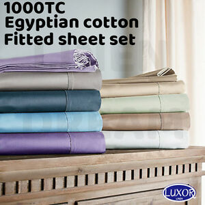 All Size 1000TC Egyptian Cotton Fitted Sheet Pillowcases Bed Set-NO FLAT SHEET