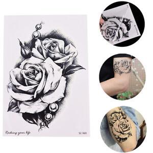 f743804ec La imagen se está cargando Black-Roses-Flor-tatuajes-temporales -adhesivos-cuerpo-3D-