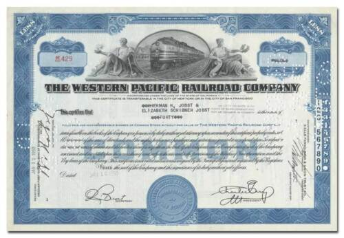 Western Pacific Railroad Company Stock Certificate