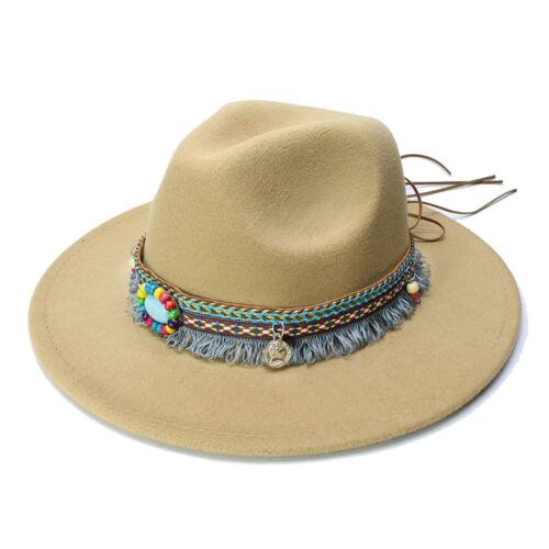 Hommes Femmes Rétro Laine National Tassel cowboy Jazz Panama Officielle Chapeau Melon 57 cm
