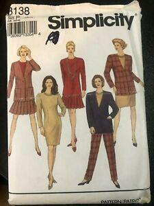Vntg-OOP-Simplicity-Sewing-Pattern-Petitie-12-16-Suit-Dress-Jacket-Pants-Skirt