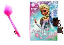 New Disney Frozen Elsa Kids Secret Diary with Lock & Marabou Pen Ideal Xmas Gift