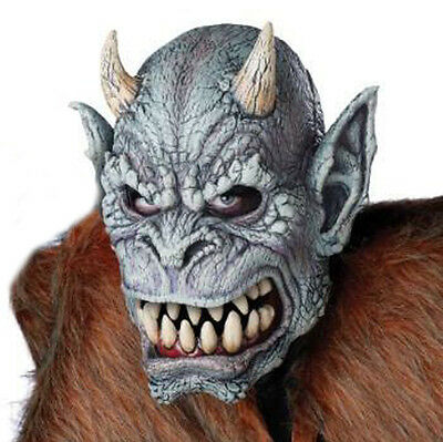 Gargoyle Gray Horned Devil  Adult Halloween Mask Snarling Lips Show Teeth