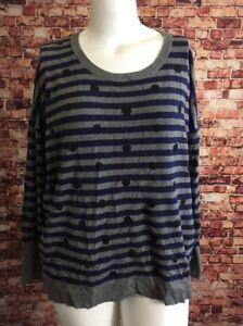 435f2374732 Lane Bryant Blue Gray Black Stripes Polka Dot Scoop Neck Sweater ...