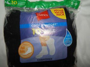 Socks-Hanes-10-Pair-ANKLE-Low-Cool-Comfort-Black-Ladies-Cushioned-Full-Sole