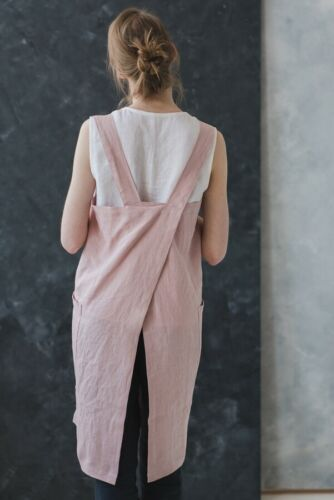 Linen Apron Dress Linen Pinafore in Pale Dogwood Washed Long Linen Apron