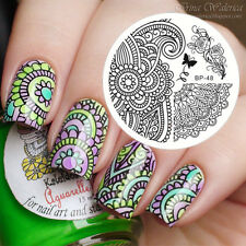 BORN PRETTY Nail Art Stamping Plate Arabesque & Peony Image Template BP48