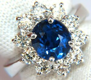GIA-4-18CT-NO-HEAT-NATURAL-SAPPHIRE-DIAMOND-RING-CLUSTER-UNHEATED-BLUE