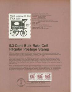 #1903 9.3c Mail Wagon Coil USPS #8136 Souvenir Page