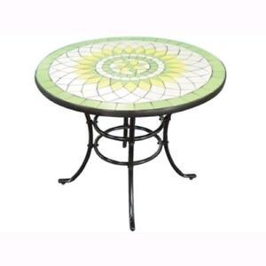 Tavoli Da Giardino Decorati.Tavolo Tondo Da Giardino Mod Limonaia In Acciaio Top Decorato O
