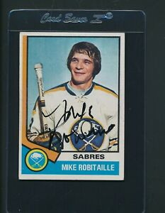 1974/75 Topps #159 Mike Robitaille Sabres Signed Auto *B2003
