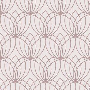 Details About Lotus Geometric Wallpaper Rose Gold Pink Muriva 148503 Metallic