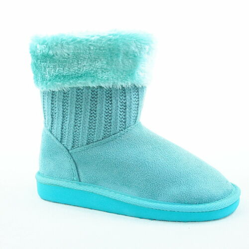 Youth Girl Kid/'s Winter Cute Flat Heel Faux Fur Sweater Boot Shoes Size 9-4