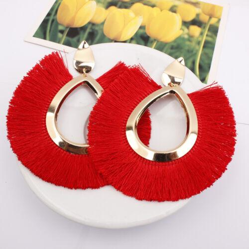 Bohemian Large Tassel Earrings Women Handmade Fringe Earrings Statement Jewelry